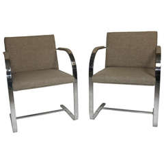 Pair Mies 'Brno' Arm Chairs Flat Bar-Harris Tweed Fabric-Brueton Labels