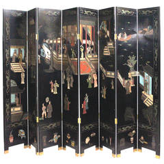 Lovely Chinoiserie Parcel Gilt Lacquered Eight Panel Screen