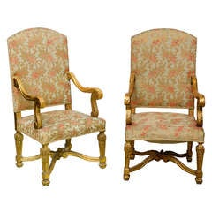 Palatial French Giltwood Throne Chairs  19h century- Vanderbilt Provenance