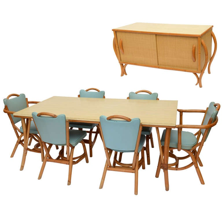 Cool Mid Century Modern Parzinger Style American1960u0027s Bamboo Rattan 8 Pc. Dining  Set With Buffet