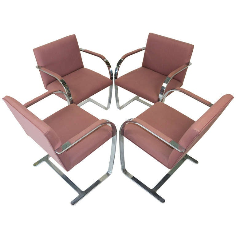 Mies Brno Chair 1960s mies van der rohe brno chairs flat bar with armrest-brueton
