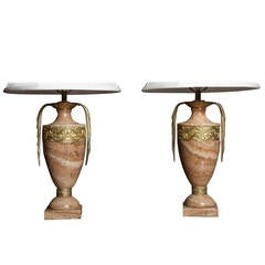 Sublime Pair of Onyx Urn Table Lamps with Gilt Bronze Decorative Motif Trim