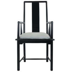 Hollywood Regency Italian Black Lacquer Armchair