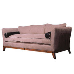 Luxe Sofa Donghia Linen Chenille Leather Trim, by Mars & Ronn Jaffe, 1980s