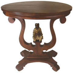 19th Century Victorian Table Displaying a Bronze Sculpture of a Fisherman