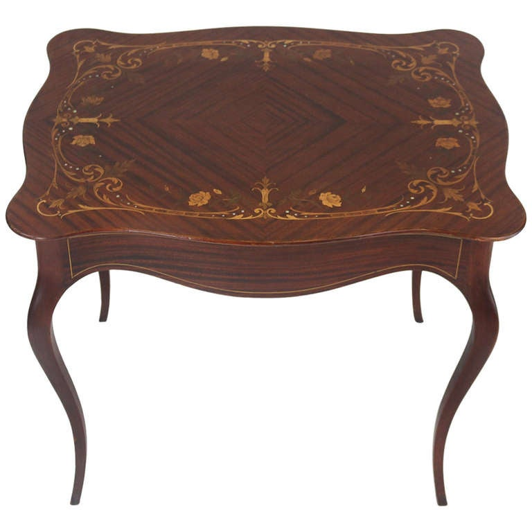 Majorelle French Art Nouveau Side Table Or Desk  Floral Marquetry Inlay For  Sale