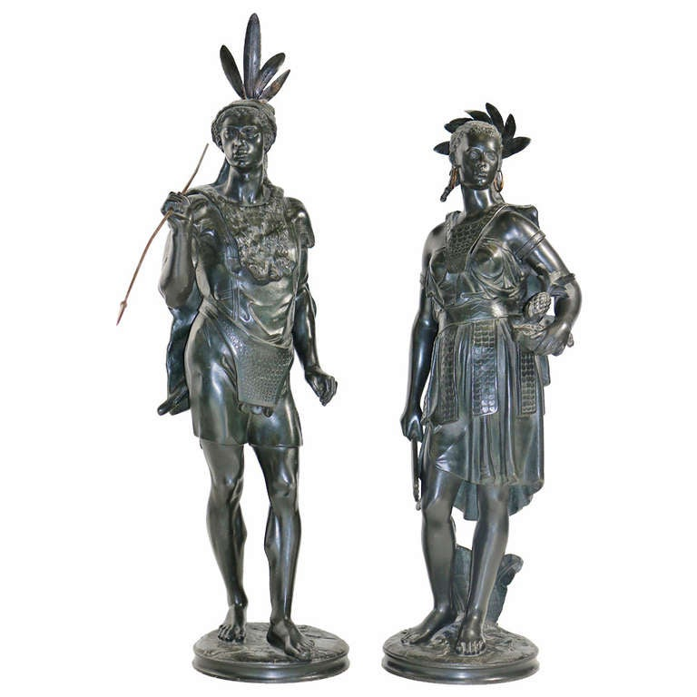Pair of Native American Indian Sculptures signed-Jean Jules Salmson circa 1860