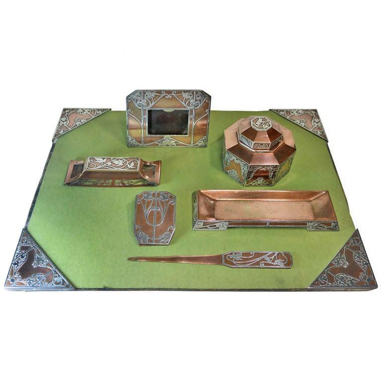 Art Nouveau 7 Piece Desk Set By Heintz Sterling Copper Bronze With Provenance