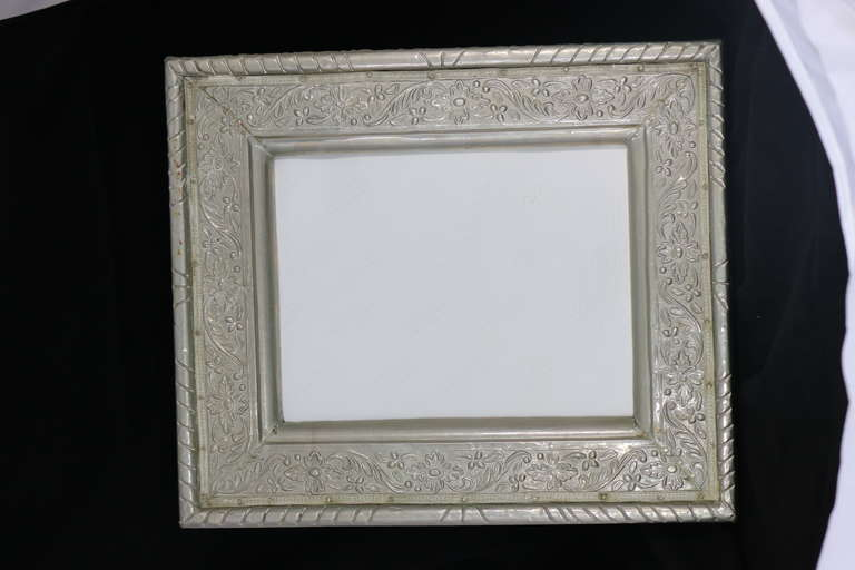 Silver Mirror Wall Photo Frame: Hollywood Regency Glamour Repousse Silver Overlay Picture