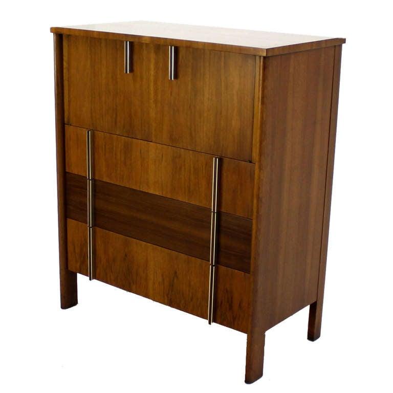 John Widdicomb Mid-Century Modern Walnut High Chest Dresser