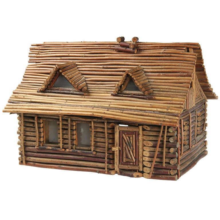 Folk Art Twig Log Cabin Home At 1stdibs