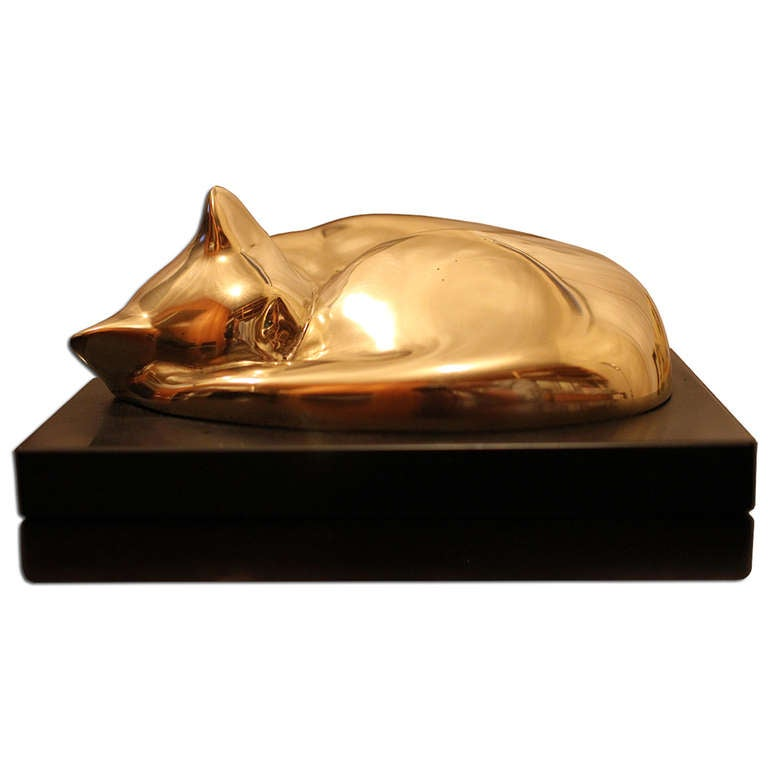 William Zorach Rare Cat Sculpture In Bronze At 1stdibs