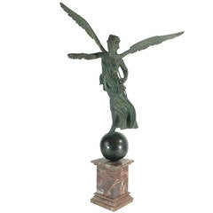 Archaistic Monumental Bronze Winged Victory with Provenance  19th century