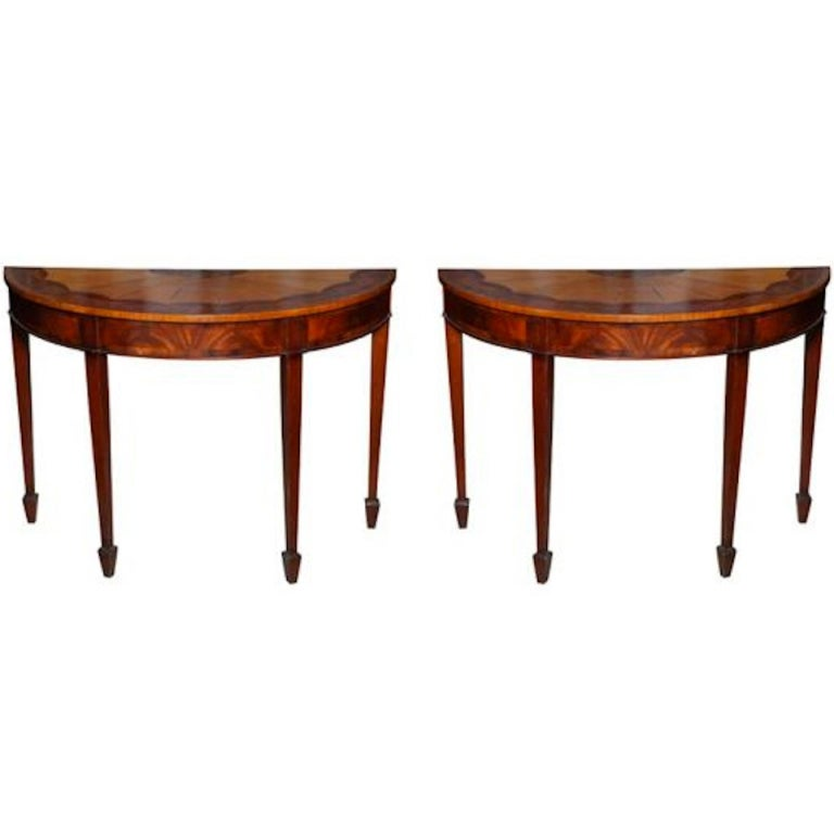 Exquisite 19th century pair of marquetry demilune with for Reduced furniture