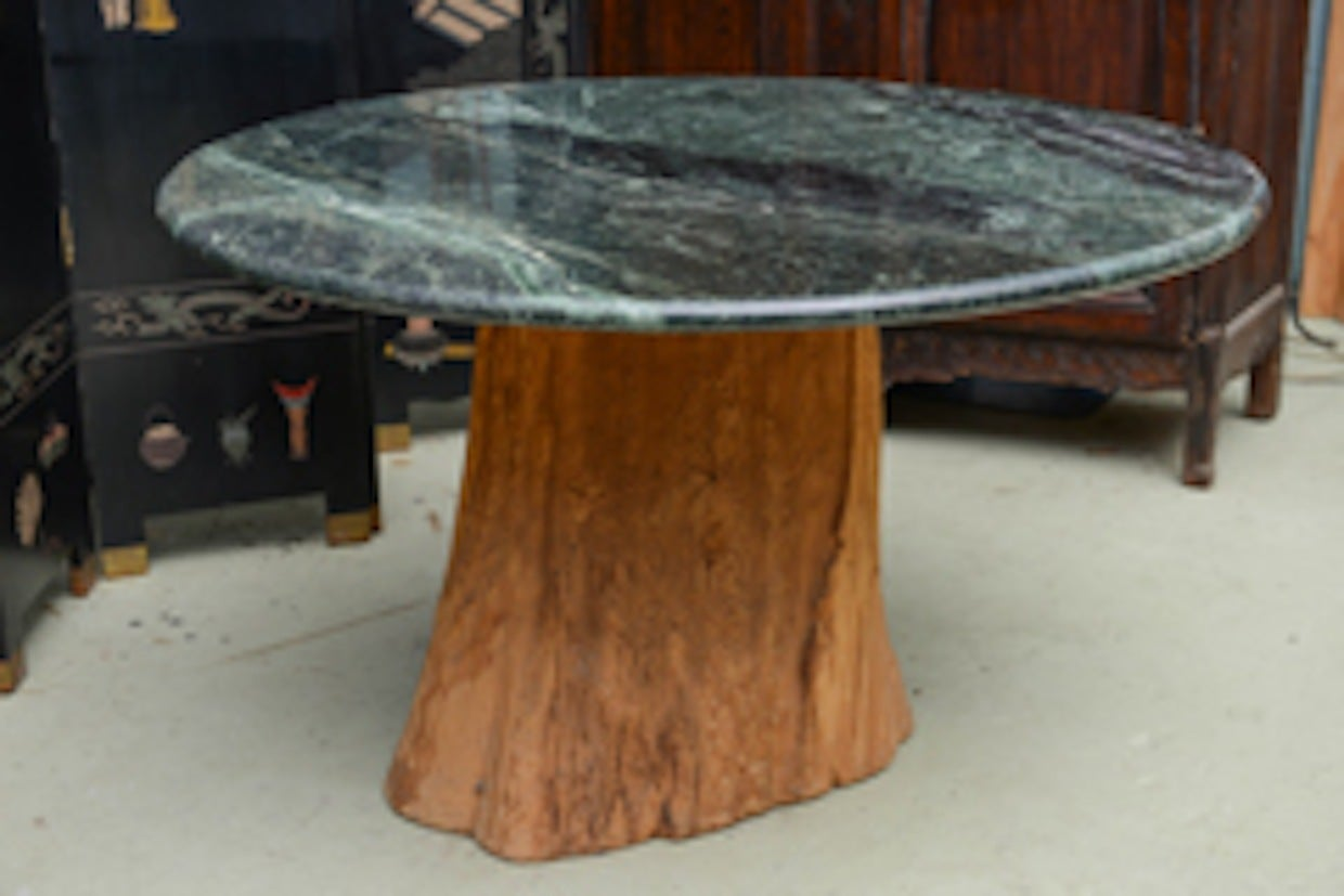 1970 Michael Taylor Specimen Organic Petrified Tree Trunk and Marble-Top Table 3
