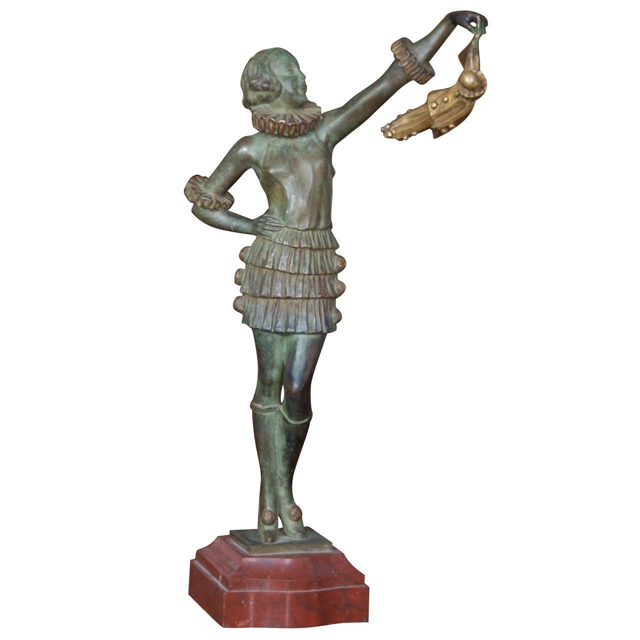 1930s Art Deco Bronze Pierrot & Pierette Sculpture, Signed, Pierre Laurel
