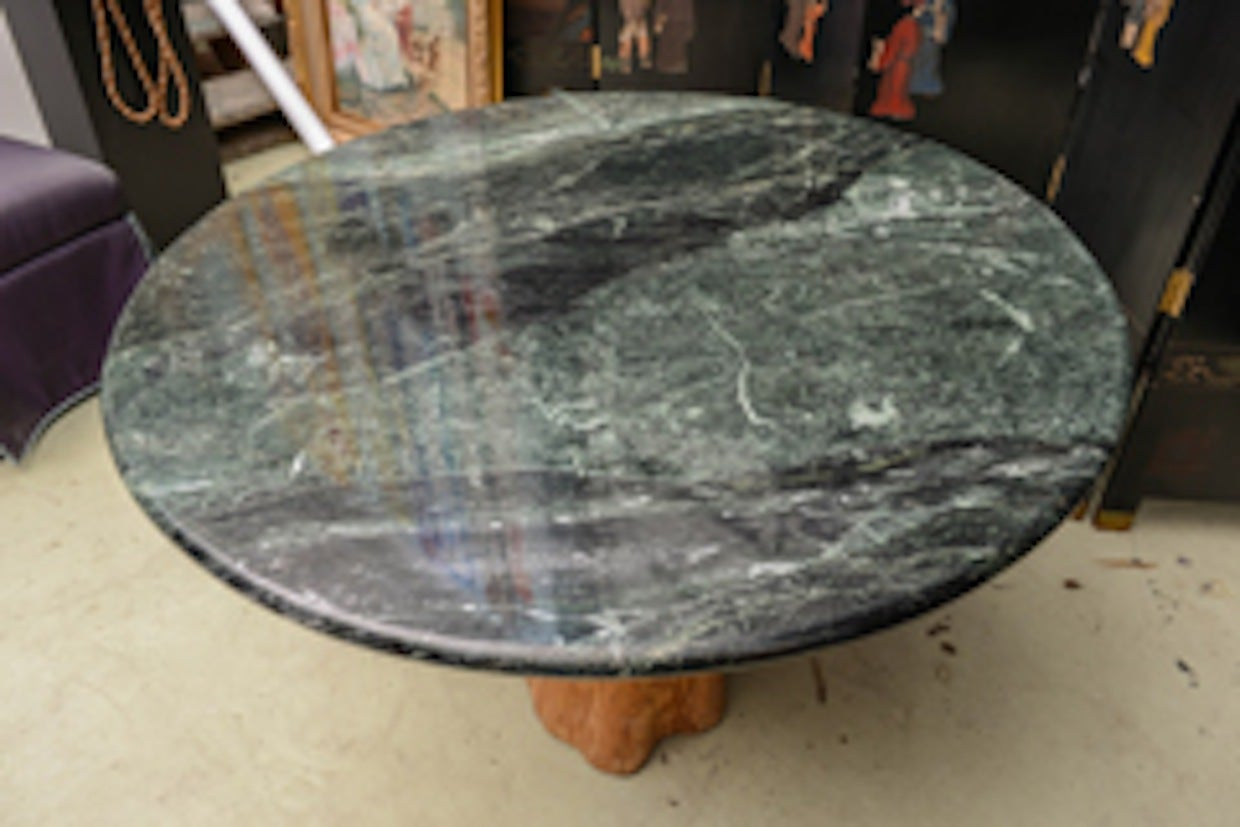 1970 Michael Taylor Specimen Organic Petrified Tree Trunk and Marble-Top Table 6