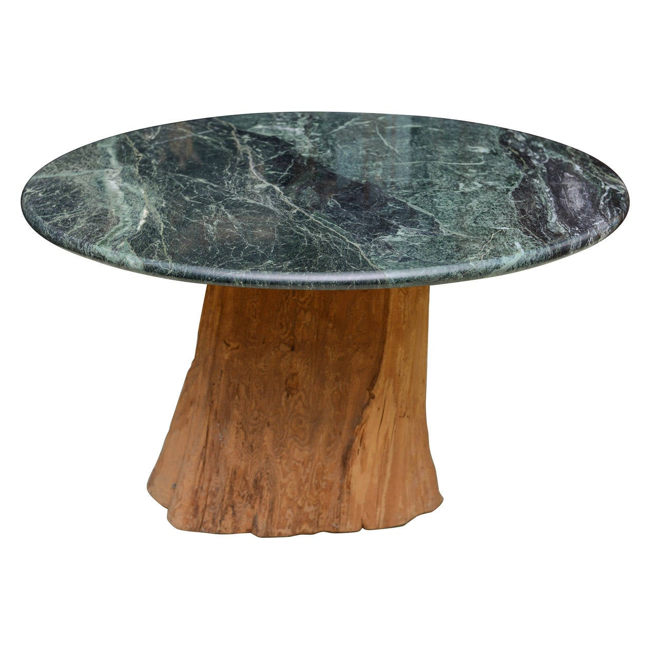 1970 Michael Taylor Specimen Organic Petrified Tree Trunk and Marble-Top Table