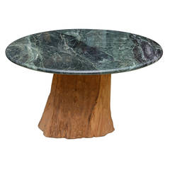 1970 Michael Taylor Specimen Organic Tree Trunk and Marble-Top Table