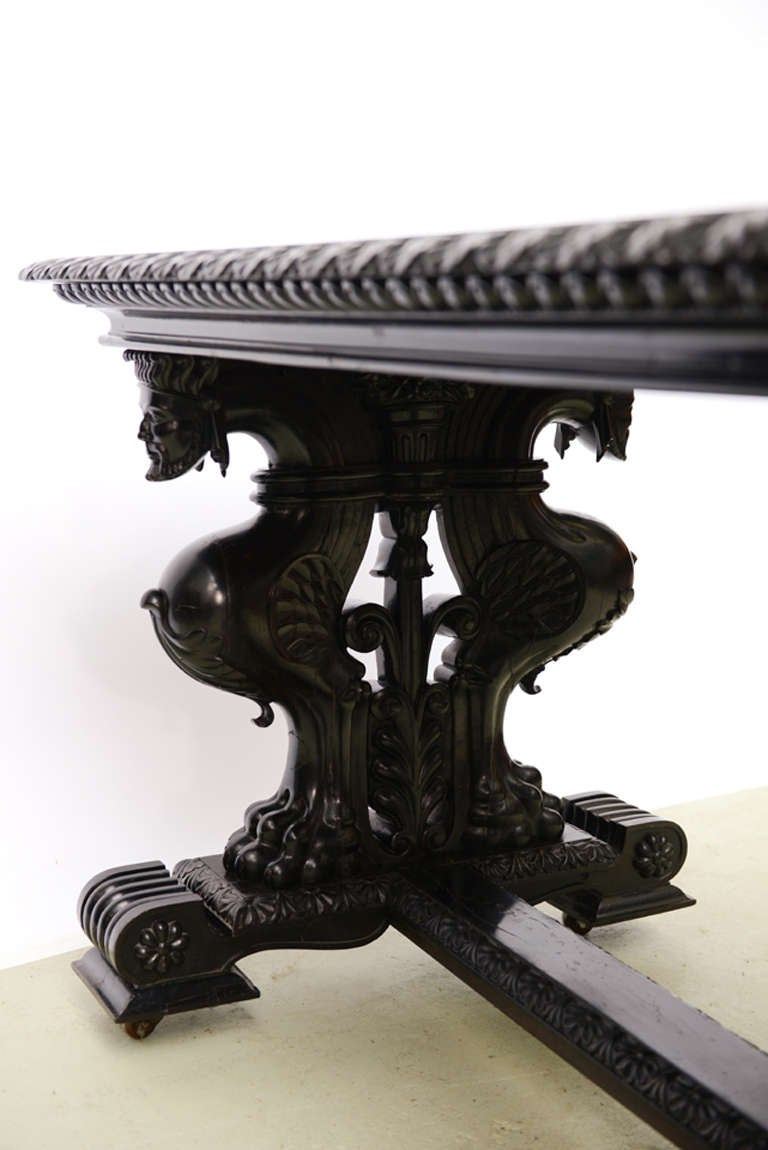 19th Century Important Grand Estate English Ebony Console Table Desk. 19th century For Sale