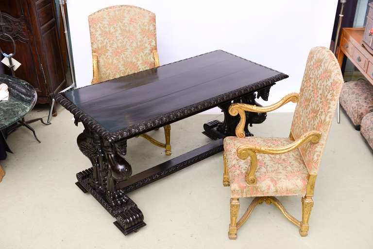Important Grand Estate English Ebony Console Table Desk. 19th century For Sale 1