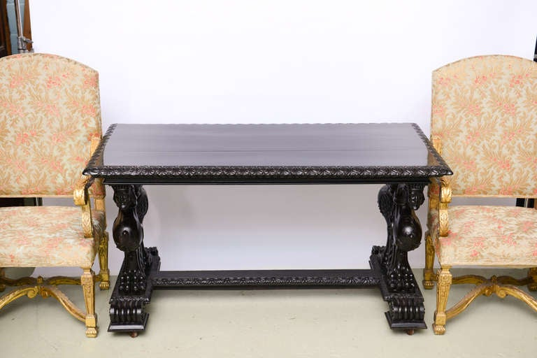 Important Grand Estate English Ebony Console Table Desk. 19th century For Sale 2
