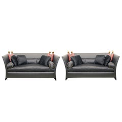 Chic Designer Pair 'St. Laurent' Sofas -Knole Style-Bergamo Silks,from a Chateau