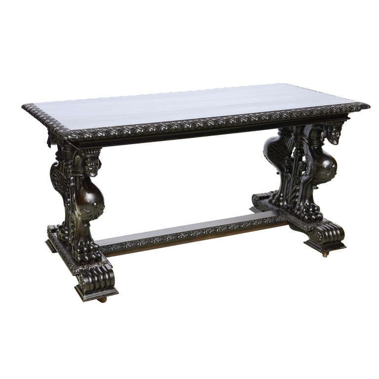 Important Grand Estate English Ebony Console Table Desk. 19th century