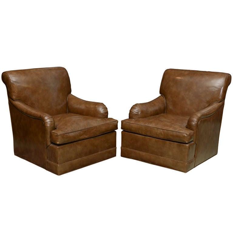 Edward Wormley Dunbar Pair Of Swivel Club Chairs Glazed