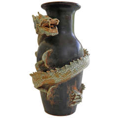 Large Dynamic Thai Dragon Vase  Mid Century with Provenance