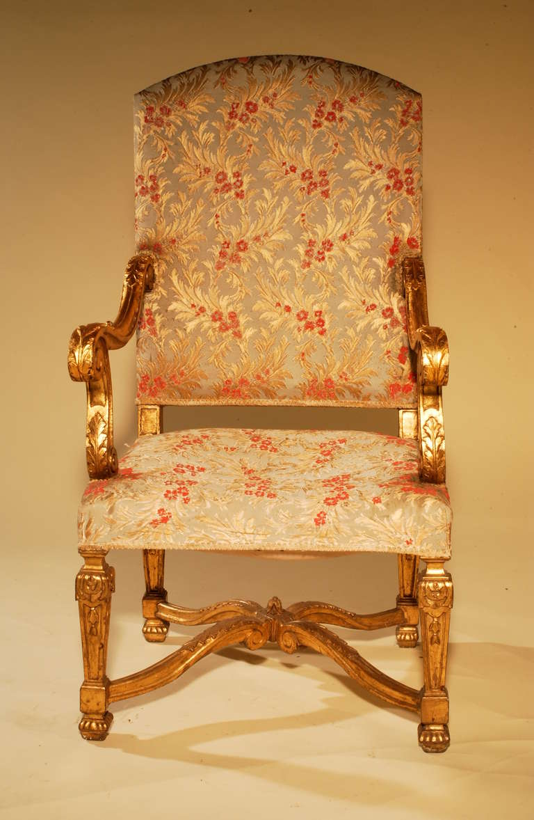Antique louis xiv chair - Palatial French Giltwood Throne Chairs 19h Century Vanderbilt Provenance 3