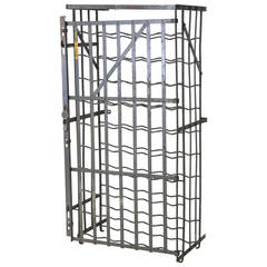 Scarce Industrial French 50 Bottle Locking Wine Rack Cage, circa 1930