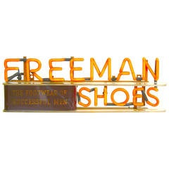 Early Neon Advertising Sign, 1930s, Freeman Shoes, 'Footwear of Successful Men'