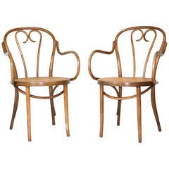 Pair of Vintage Michael Thonet Design Cane Bentwood Armchairs