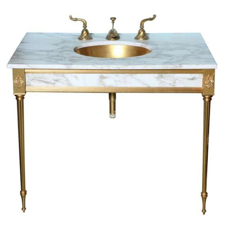 sherle wagner 5 pc set 22k gold and marble vanity with mirror cabinet and li. Black Bedroom Furniture Sets. Home Design Ideas