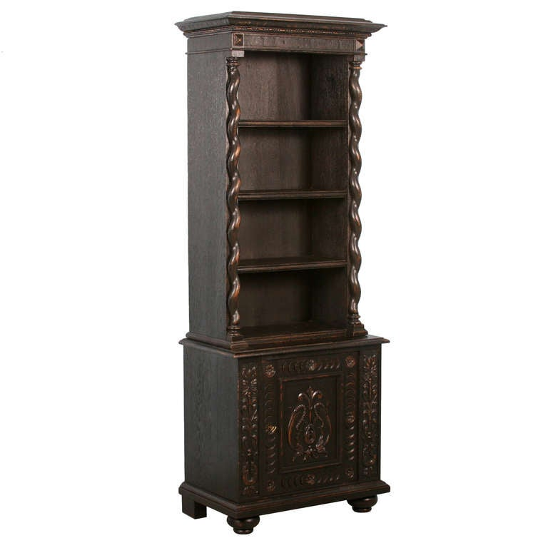 antique narrow carved bookcase cabinet black