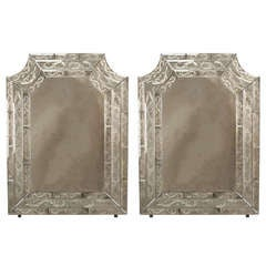 Modern Venetian Murano Mirrors Framed In Etched Glass