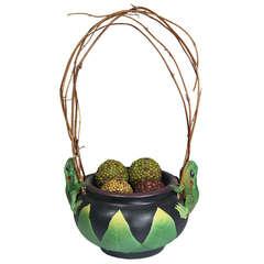 Artist Signed Porcelain Vessel Frog Decoration Natural Twig Handle
