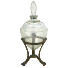 Hollywood Regency Art Deco Large Apothecary Glass Display Globe in Aluminum Base
