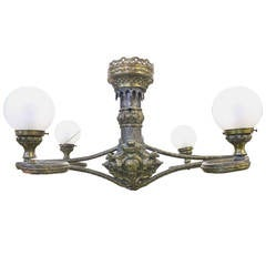 Fabulous Belle Epoque Four-Arm Globe Light Repousse Brass and Zinc Chandelier