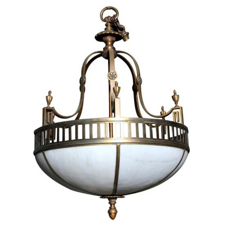 Classic Art Deco Brass Milk Glass Chandelier For Sale at
