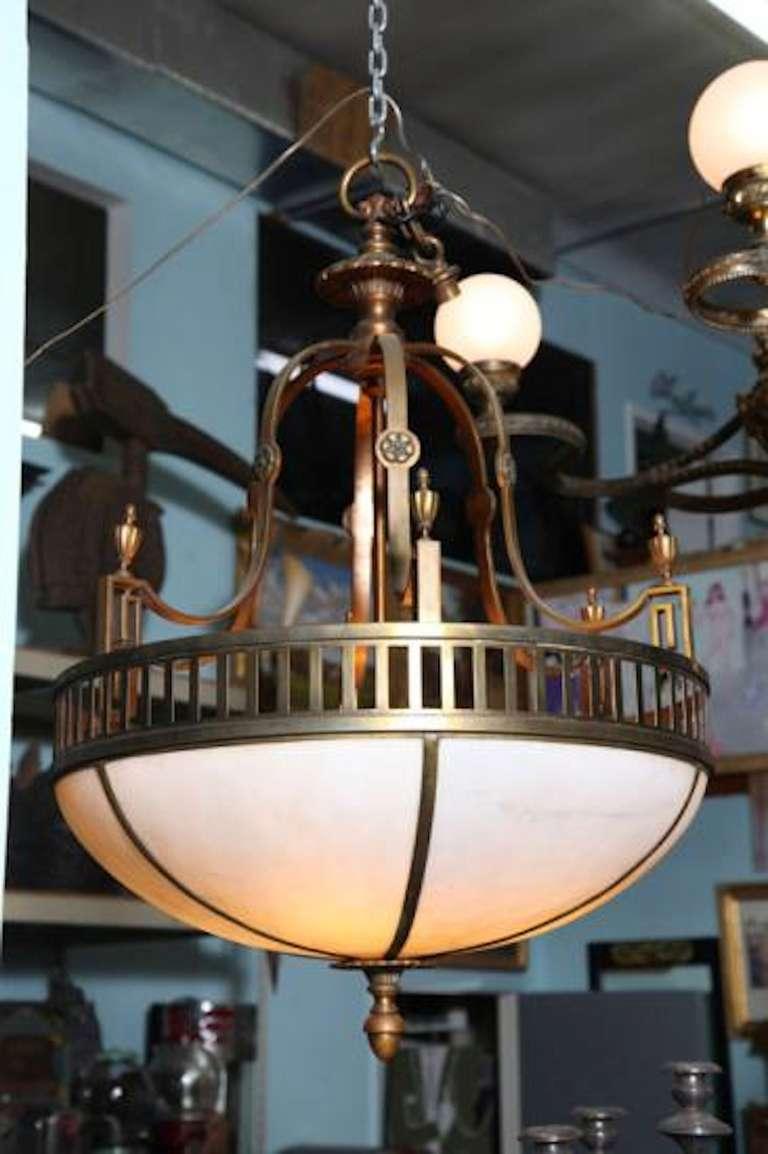 Art Deco Foyer Lighting : Classic art deco brass milk glass chandelier for sale at