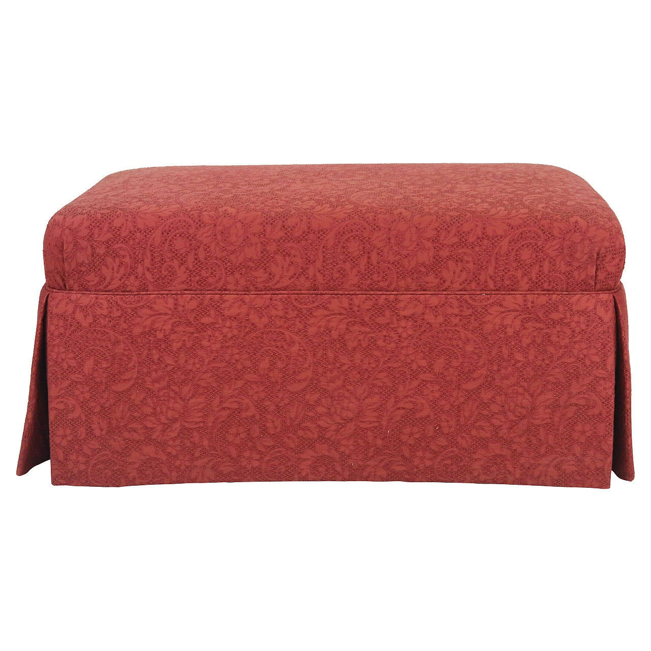Ottoman Bench Covered in Floral Brocade Scalamandre Fabric Dressmaker Skirt