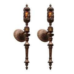 Palatial Large Pair of Superb Wall Torchieres Sconces from Chateau 19th century