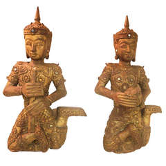 19th c. Teak Carved Large Pair of Gilt Siamese Figures with Provenance