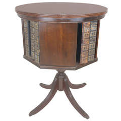 Rare Revolving Bookcase Side Table- Marquetry Inlay Star Duncan Phyfe Style
