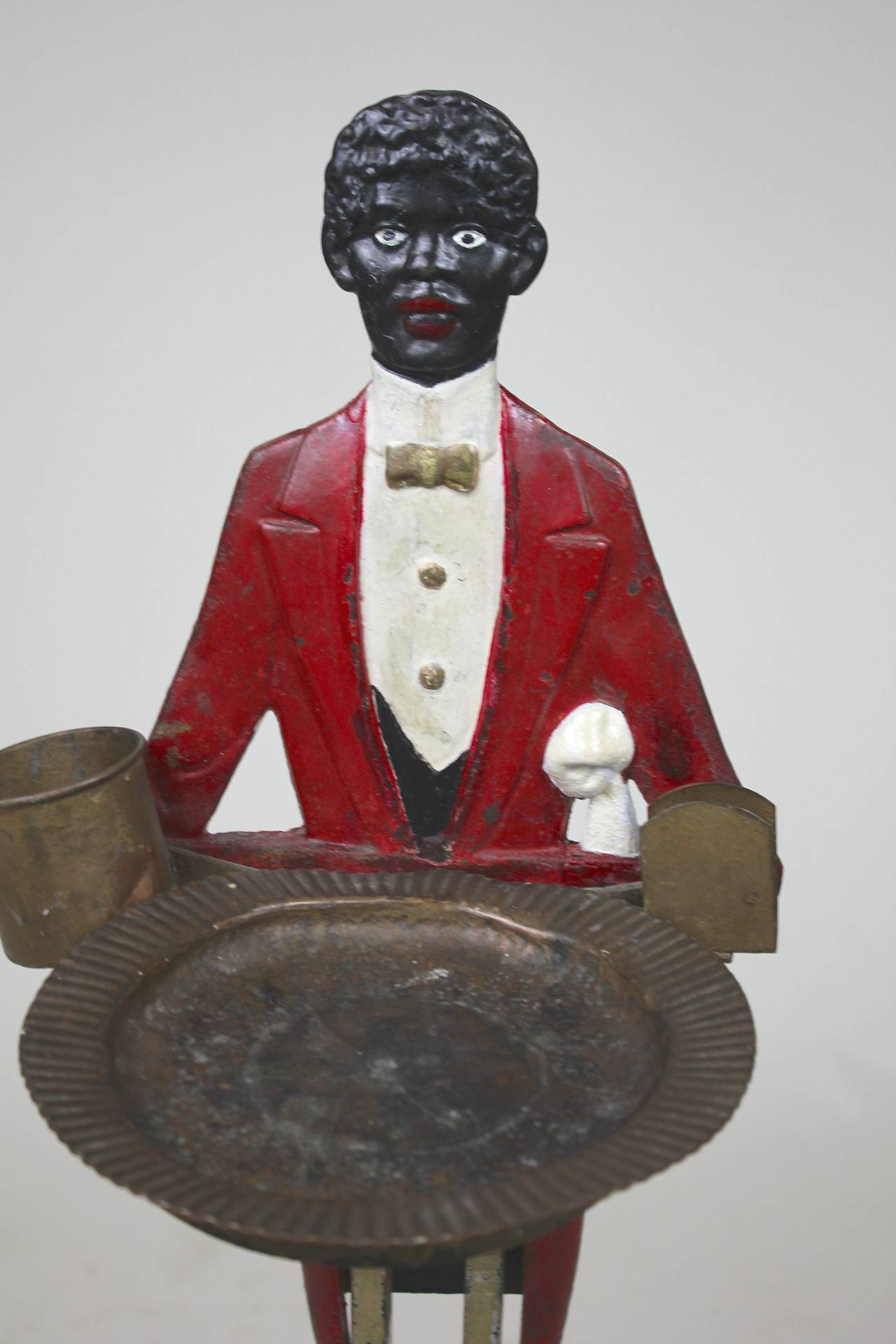 Folk Art Black Americana Butler Smoking Stand, circa 1900 For Sale 2
