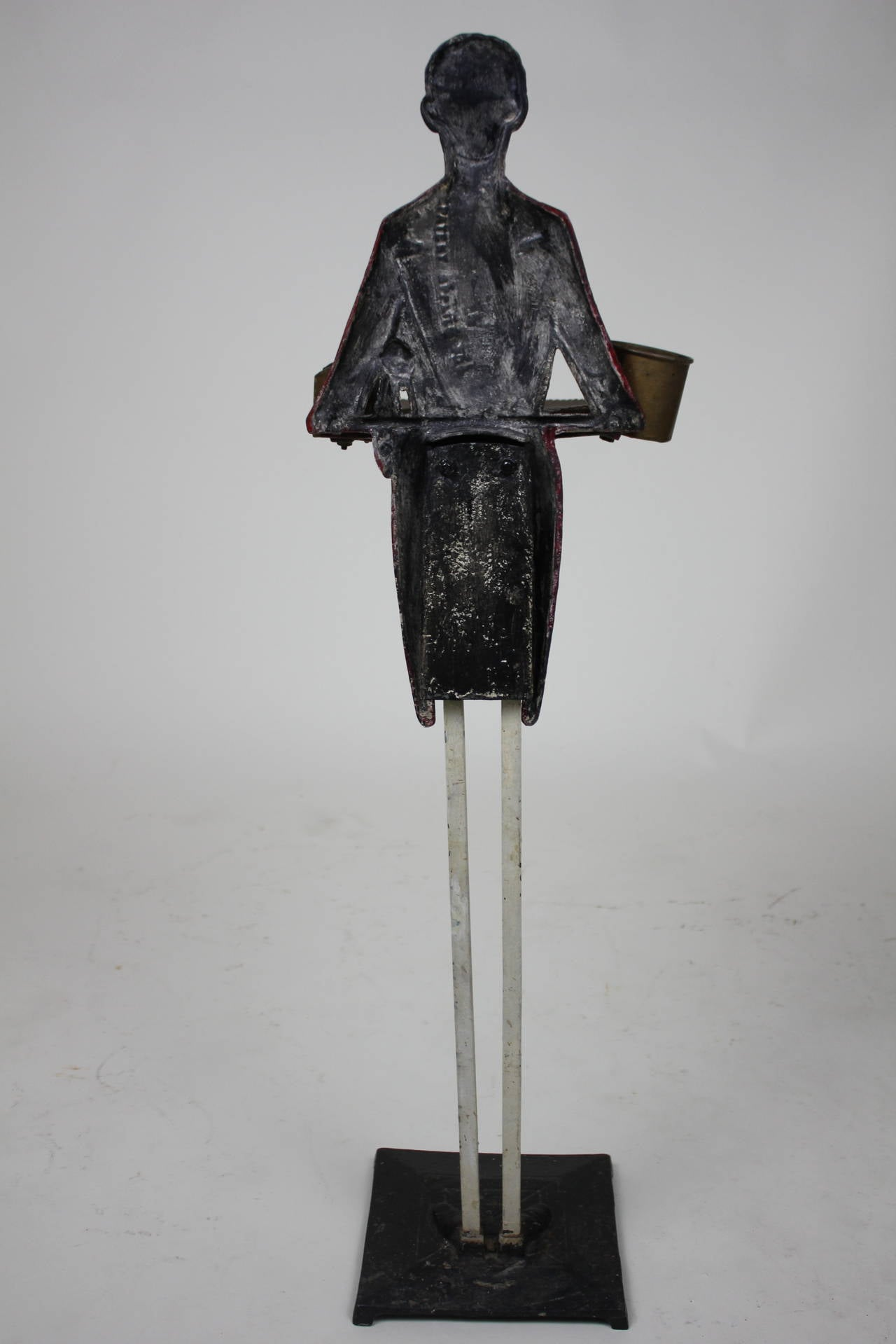 Folk Art Black Americana Butler Smoking Stand, circa 1900 For Sale 3