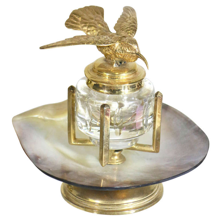 19th Century Harkness Library Gold Hummingbird on Crystal Shell Inkwell