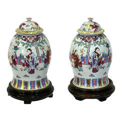 Pair of Large Impressive Chinese Baluster Jars with Covers, circa 1880